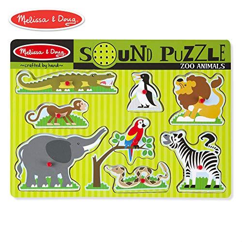 Melissa & Doug Zoo Animals Sound Puzzle (Wooden Peg Puzzle, Sound Effects, 8 Pieces)