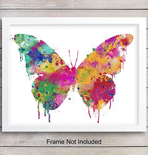 Colorful Butterfly Wall Art Print - Chic Watercolor Home Decor for Bedroom, Bathroom, Kitchen or Office - Makes a Great Gift - 8x10 Photo - Unframed