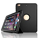 iPad 9.7 Case 2018/2017,Hybrid Shockproof Rugged [ Built-in Screen Protector] Stand Flip Smart Case,iPad 6th Gen 2018 Case[A1893,A1954],iPad 5th Gen 2017 Case[A1822,A1823] (Black)