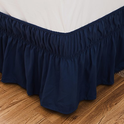 Bed Skirt-14 Inch Drop Dust Ruffle Three Fabric Sides Wrap Around Ruffled (Queen/King,Blue) Brushed Microfiber Adjustable Elastic Easy (Drop Blue Dust)