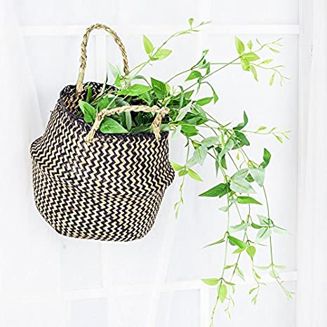 L Plant Holder Basket Pot Collapsible Panier Storage Nursery Laundry Tote Bag with Handles 36x32cm RISEON Black Seagrass Belly Basket