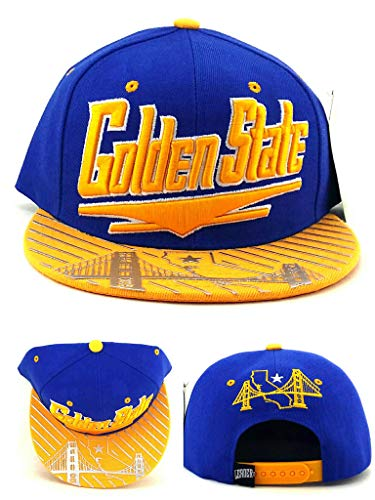 Golden State New Leader Skyline Chrome Shine Warriors Colors Blue Gold Era Snapback Hat Cap