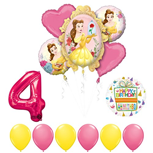 Beauty and The Beast 4th Birthday Party Balloon supplies decorations -