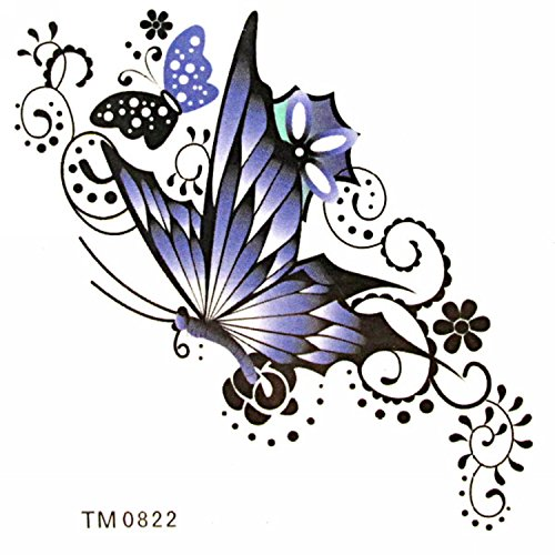MapofBeauty Beautiful Purple Butterfly Temporary Waterproof Body Art Tattoo Sticker (2 (Purple Butterfly Tattoo)