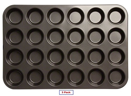 (3 Pack) Excellent 24 Cups Nonstick Muffin / Cup Cake Pan, CupCake Baking Mold