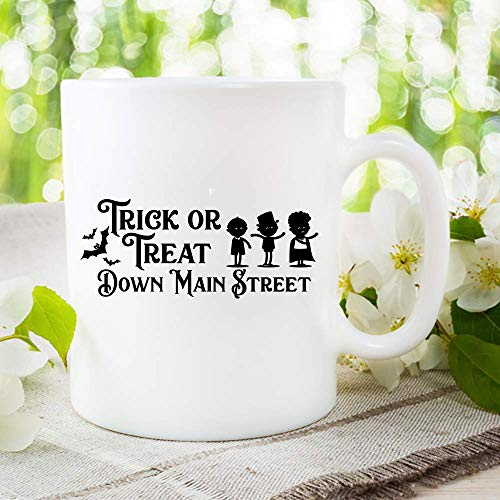 Trick Or Treat Down Main Street Mug Children Walking Asking For Candy Halloween, Trick or Treat Mug Coffee, Cup Gift, Halloween Mug, Gift for Her, Gift for -