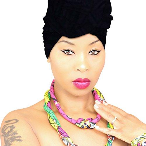 Women Urban Black Head Wrap, Hijab, Headband, Black Scarf in Jersey Fabric HeadWrap Style ()