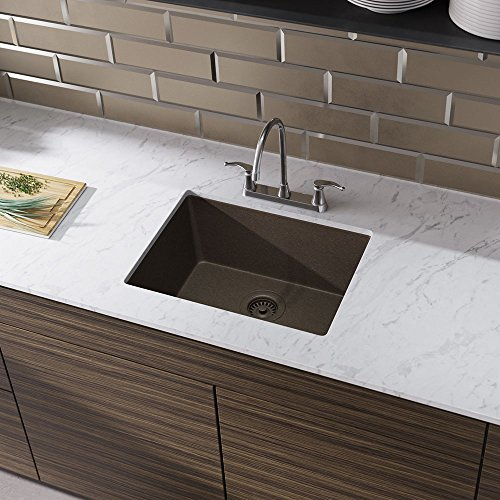 R3-1004-UMB-ST-CGF Umber Single Bowl Quartz Kitchen Sink with Grid and Matching Colored Flange by Elkay (Image #2)