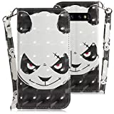 WIWJ Compatible with Samsung Galaxy S10 Plus Case,3D Embossed Lanyard Flip PU Leather Case with Card Holder for Girls Kickstand Ultra Slim Fit Protective Shockproof Case Cover-Angry Bear