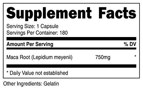 Nutricost Maca Root (Lepidium meyenii) 750mg, 180 Capsules, 180 Servings