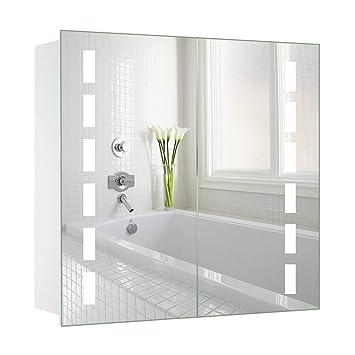 Amazonde Warmiehomy Led Beleuchteter Badezimmer Spiegelschrank Mit