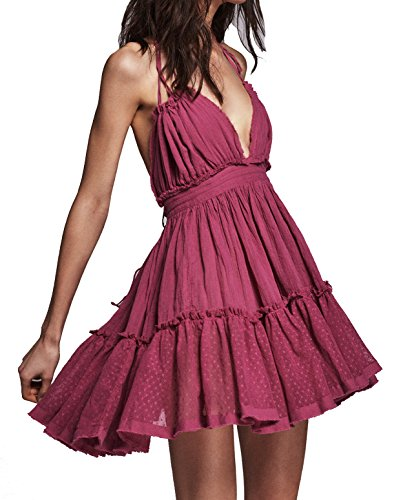 [R.Vivimos Women Summer Deep V Neck Sexy Patchwork Short Dresses Medium Fuchsia] (Hippie Dress)