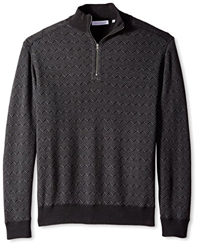 Top Alex Cannon Men's Reversible Herringbone/Solid 1/4 Zip Mock Neck Sweater