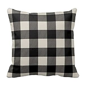 """Durable Zippered Pillow Cover Black and Beige Preppy Buffalo Check Plaid Accent Pillows 18 x 18"""""""