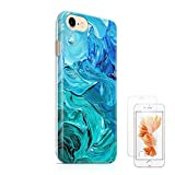"Watercolor Turquoise iPhone 7 Case uCOLOR TPU Dual Layer Protective Case for iPhone 7(4.7"")with Slim Tempered Glass Screen Protector"