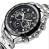 Men's waterproof quartz watch fashion watch Round dial Stainless steel bracelet Luminous display Pointer display Analog watch,Black