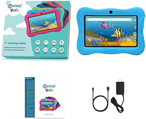 Contixo V9-3-32 7 Inch Kids Tablet, 2GB RAM 32 GB ROM, Android 10 Tablet, Educational Tablets for Kids, Parental Control Pre Installed Learning Game Apps WiFi Bluetooth Tablets for Kids, Blue