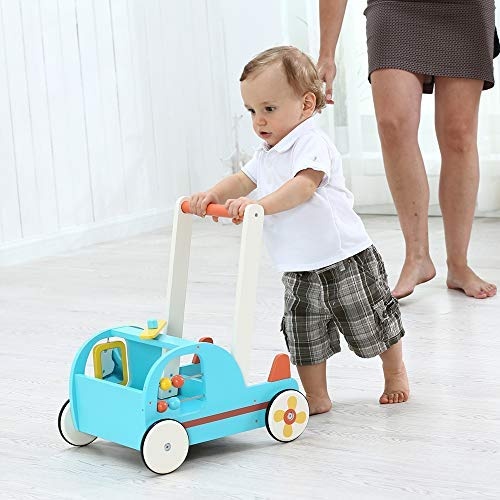 Children 2-in-1 Little Blue Yellow Sailboat Wooden Push Walker Toddler Push /& Pull Toys Activity Walker Stroller Walker Toy Wagon with Wheel for Baby Girls Boys 1-3 Years Old