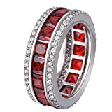 YAZILIND Emerald Cut Cubic Zirconia Women Stackable Band Engagement Red Created Garnet Ring