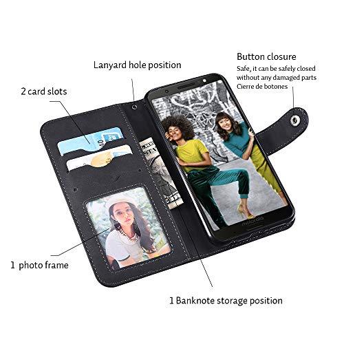 Moto G6 Plus Case,Moto G6 Plus Wallect Case, Flip Leather Case 5 Cards / 1 Photo Slot/Cash Pocket PU Cover with Wrist Strap [Wallet Stand] Phone Case for Moto G6 Plus (Black) by okasis (Image #3)