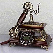 Antique Telephone European Retro Wood Rotating Old Living Room Home Wireless Card Telephone Landline,B
