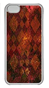 LJF phone case Old Tile - maroon and gold Personalized Custom Hardshell Back Case for iphone 5C Transparent -1126049