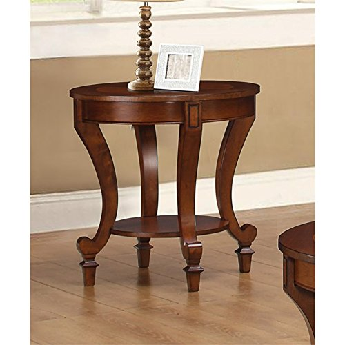 Cheap Coaster Transitional Warm Brown End Table with Decorative Wood Inlay