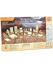 1 SET = 34 STKS Poppenhuis Meubels-Houten 3D Puzzel - Schaal Miniatuur Modellen Poppenhuis DIY Accessoires ...