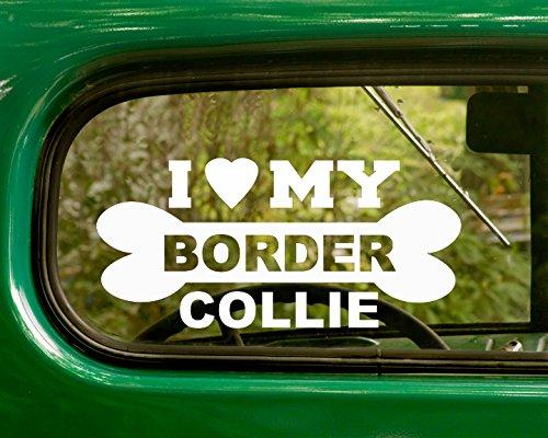 2 BORDER COLLIE DOG Decals I Love My Dog White Sticker For Car Truck Window Jeep Rv Laptop Bumper Motor Home