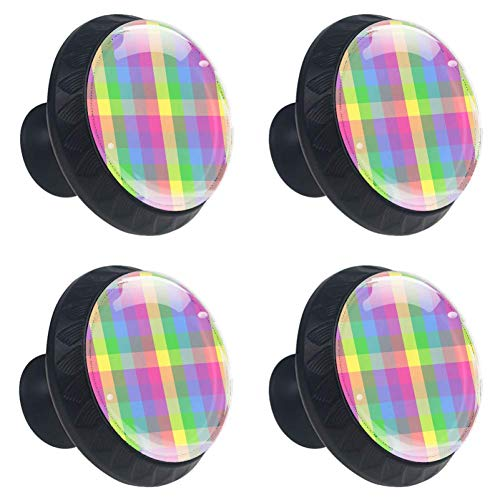 (Anmarco Colorful Checkered Plaid Drawer Knobs Pull Handles 30MM 4 Pcs Glass Cabinet Drawer Pulls for Home Kitchen Cupboard)