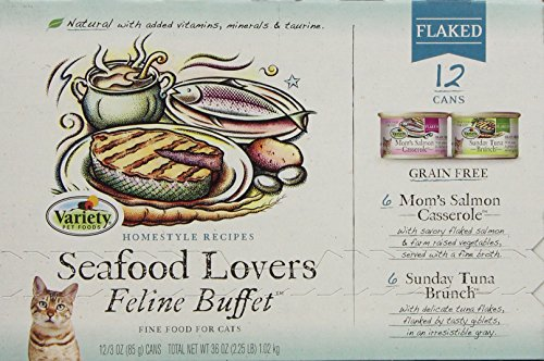 Homestyle Recipes, Seafood Lovers Variety Pack, 12/3-Ounce Cans,  6-Mom'S Salmon Casserole And 6-Sunday Tuna Brunch,  Flaked, Grain Free Cat Food