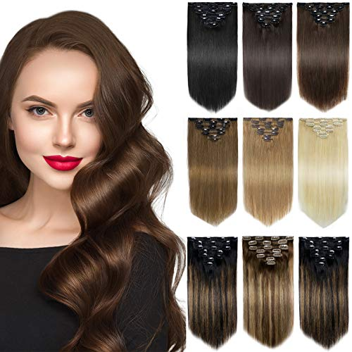 Yamel Remy Clip in Hair Extensions Human Hair 7Pcs 16 Clips Real Human Hair Extensions clip