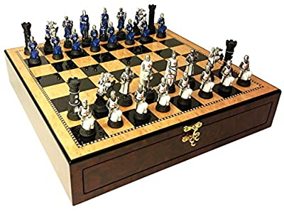 "Blue & White Medievel Times Crusades Warrior Knight Chess Set W/ 17"" High Gloss Walnut Color Storage Board"