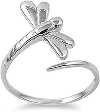 Dragonfly Ring Details about  /Sterling Silver Tiny Dragonfly Toe Ring Boho Ring Silver Ring