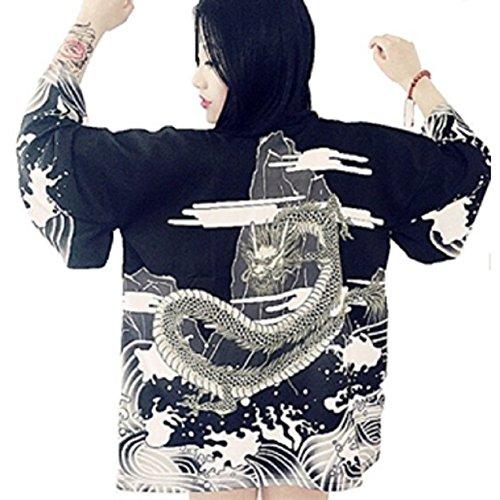 - Fuji Japanese Kimono Style happi coat Black Anime Cosplay