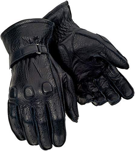 Tour Master Deerskin Mens Leather Cruiser Motorcycle Gloves - Black / X-Large
