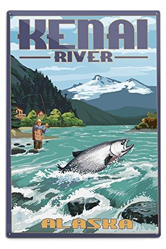 (Lantern Press Kenai River, Alaska - Salmon Fisherman (12x18 Aluminum Wall Sign, Wall Decor Ready to Hang))