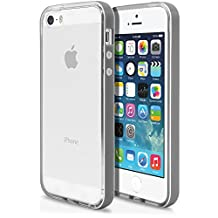 iPhone 5 5s Case, MagicMobile® [Bumper Frame] Clear Transparent Slim Glossy TPU Cover for Apple iPhone 5 5s with Gray Bumper Frame Hard Flexible Case + Free Screen Protector