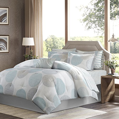 Madison Park Essentials Knowles Twin Size Bed Comforter Set Bed in A Bag - Aqua, Grey, Geometric Dots – 7 Pieces Bedding Sets – Ultra Soft Microfiber with Cotton Sheets Bedroom Comforters