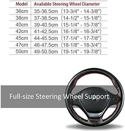 38CM, A - Black Qimei Genuine Leather Steering Wheel Cover DIY Hand Sewing Full Size Suit for Diameter of Steering Wheel 36//38//40//42//45//47//50cm 14.2//15//15.7//16.5//17.7//18.5//19.7 inch