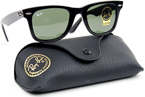 Ray-Ban RB2140 901 Wayfarer Sunglasses Black / Crystal Green Lens - Rb2140 Wayfarer 901 Original