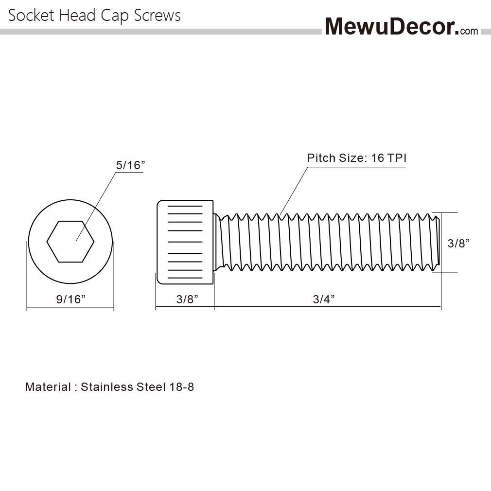 10 PCS Allen Socket Drive Machine Thread Full Thread Stainless Steel 18-8 3//8-16 x 3//4 Socket Head Cap Screws Bright Finish