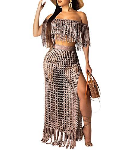 Women Off Shoulder Cover Up Maxi Skirt Sets Crochet Tassel Fringe 2 Piece Outfit Slit Beach Dress Coffee Size M ()