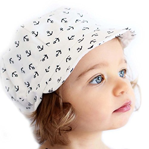 Toddler newsboy cap for spring summer fall - adjustable 50+ UPF sun hat(M: 9m - 3Y, Anchor)