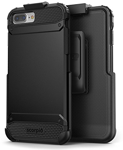 Encased UE Armor iPhone 8 Plus Belt Case Holster Clip (w/Screen Protector) Dual Layer Protective Combo - Compatible with Apple iPhone 8 Plus 5.5inch (R7 Black)