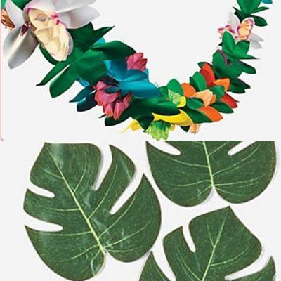 FE Luau Lot - 12 Tropical Leaves and Tropical Tissue Garland (Leaf Banner)