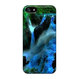 Awesome QZIPIQR4548wcCUb Mialisabblake Defender Tpu Hard Case Cover For Iphone 5/5s- Deep Green Forest Mountain Waterfalls