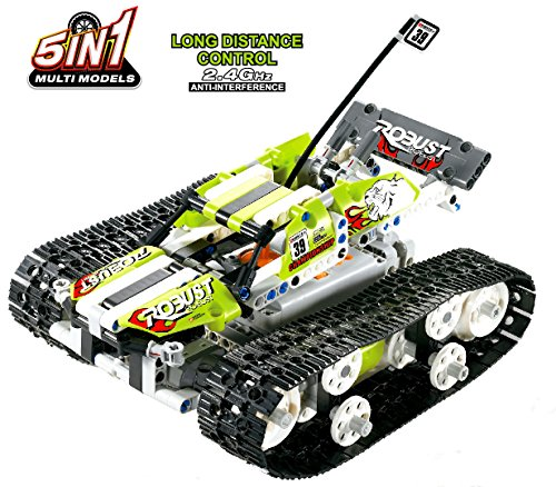 Bo-Toys R/C 5 in 1 Tank Building Bricks Radio Control Toy, 402 Pcs Construction Build It Yourself Toys