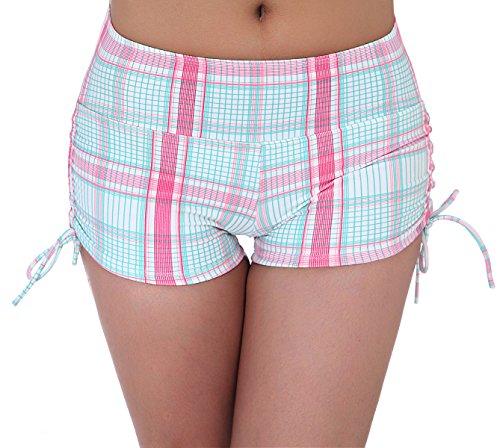 Wide Waistband Bikini Bottom (UNOW Women's Sporty Adjustable Boy Leg Wide Waistband Fully Lined Bikini Bottom Beach Briefs Tankinis Board Shorts(Grid,XXL))