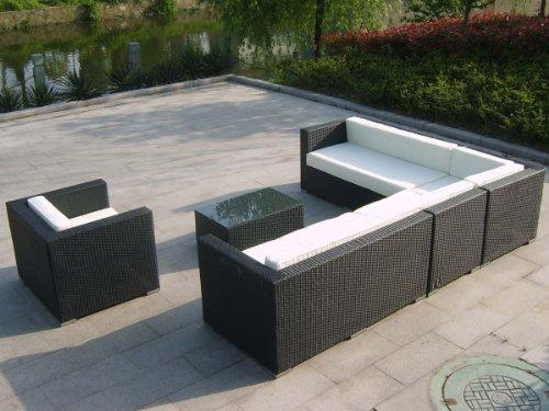Amazonde Loungemöbel Set Haiti Schwarz Polyrattan Terrasse